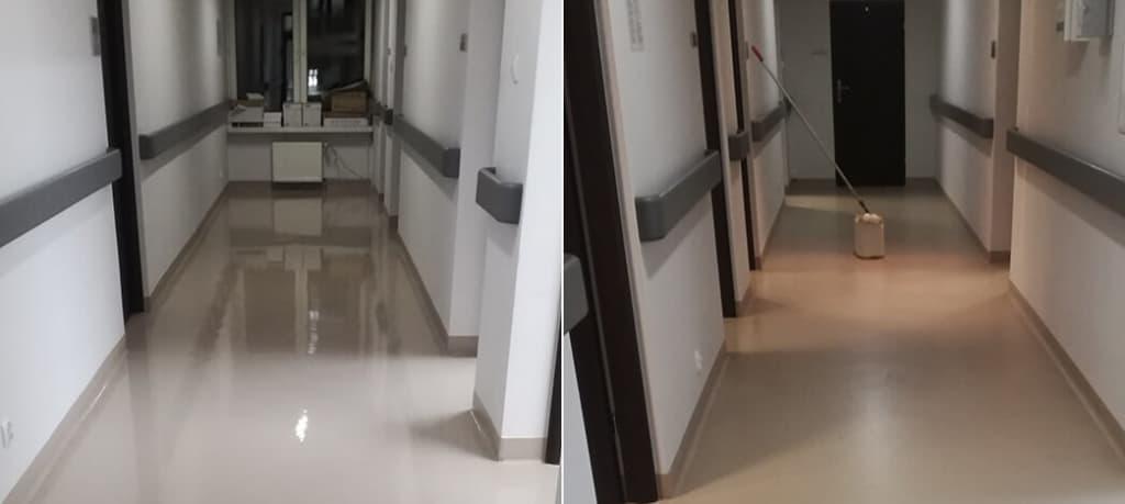akrylowanie podlogi biura porównanie efektu