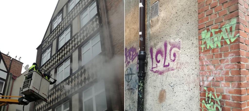 usuwanie graffiti z kamienicy