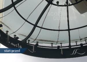 zabrudzenia na zdobieniach szklanych SCO CLEAN UP przed praca